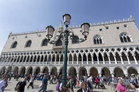 doge: VENICE, ITALY - MAY 2, 2015: The Doge Palace in San Marco square in Venice Italy Editorial