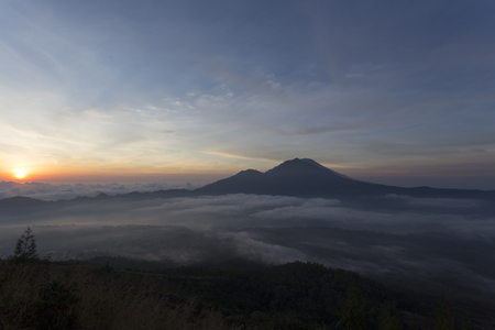 fantastic view: Fantastic view from the Mount Batur at sunrise in the morning Stock Photo