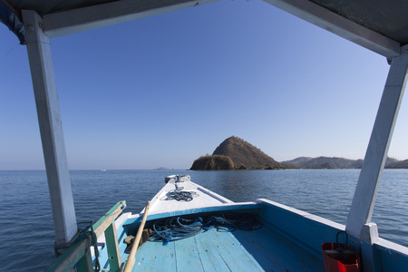 nusa: Komodo islansd national park in Indonesia view from the boat Stock Photo