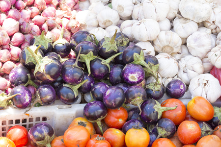 old fashioned vegetables: Vegetables in Asian market close up Stock Photo