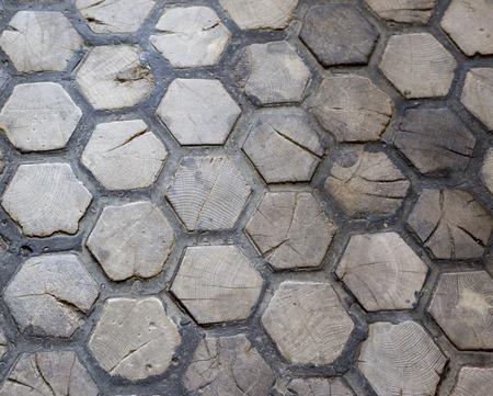 elevated walkway: hexagon wood texture Stock Photo