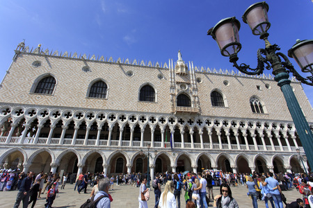 doge: VENICE, ITALY - May 2, 2015: St. Mark square in Venice.it is the principal public square of Venice, Italy with background Doge Editorial