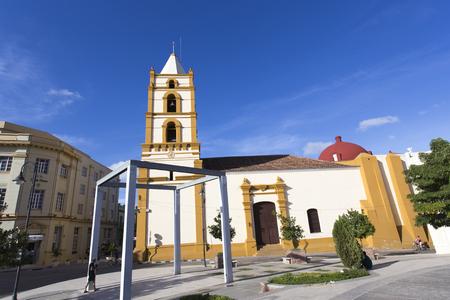 holguin: Camaguay, Cuba - December 27, 2015: Street view of church in Holguin, Cuba.
