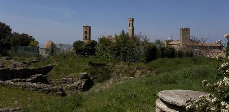 ices: Roman ruins in Rome, Fori Imperiali. Italy Stock Photo