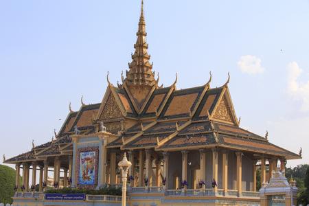 phen: Phnom penh, Cambodia - April 25, 2014: the royal palace of Phnom Phen on a sunny April morning