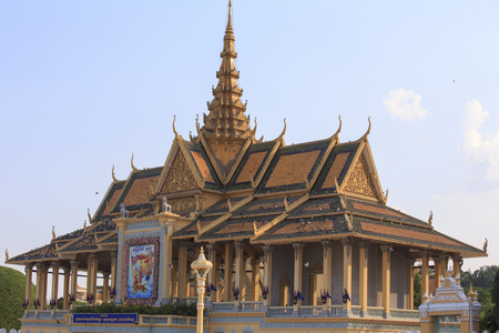 Phnom penh, Cambodia - April 25, 2014: the royal palace of Phnom Phen on a sunny April morning