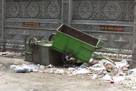 phen: phnom phen, Cambodia - April 25, 2014: garbage in the street of Phnom Phen, Cambodia Editorial
