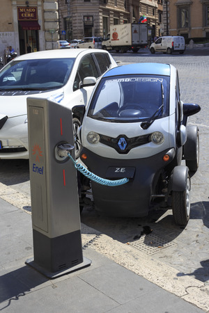 Rome, Italy - September 5, 2014: renault twizy electric car being loaded in Rome Editorial