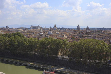 obelisco: View of Rome from Castel SantAngelo, Italy.