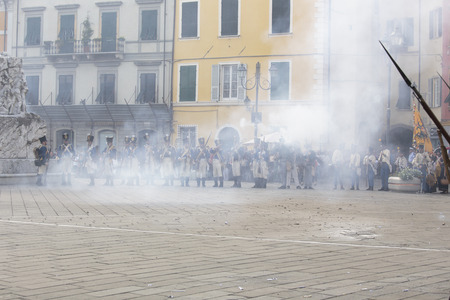 military invasion: Sarzana, Italy - September 28, 2013: commemorative and historical fest of the Napoleonic Wars which is celebrated every two years in the medieval town of Sarzana, Liguria Italy. It is called Sarzana Napoleon festival