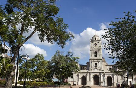 holguin: Street view in Camaguay, church. Cuba