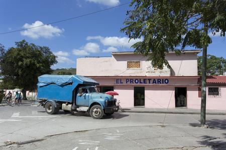 restuarant: Camaguay, Cuba - December 28, 2015: Street view in Camaguay, restuarant El Proletario Cuba Editorial