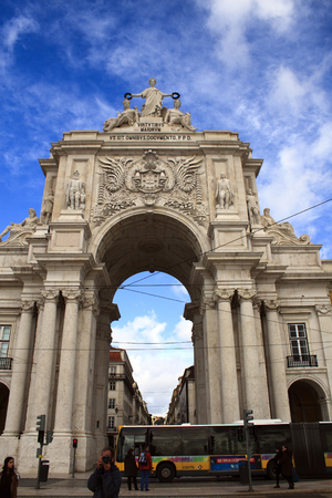 augusta: Lisbon, Portugal - February 15, 2014: Arco da Rua Augusta, triumphal arch on the Palace Square