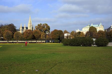 renamed: Vienna, Austria - November 1, 2013: few people walking at Sigmund-Freud Park. In 1961 the park in Alser was renamed to Sigmund -Freud Park