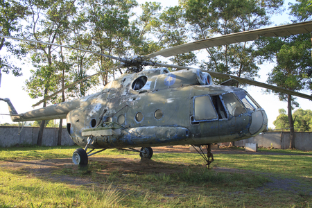 landmine: Siem Reap, Cambodia - May 1, 2013: helicopter from Cambodia war at Siem Reap war museum