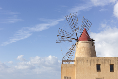 View of the  windmill in the salt pans Stock Photo