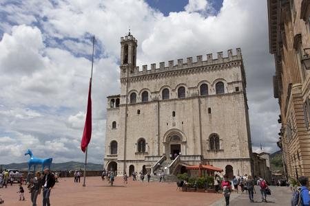 grande: Gubbio, Italy - June 04, 2016: the Piazza Grande, Gubbio, Umbria, Italy