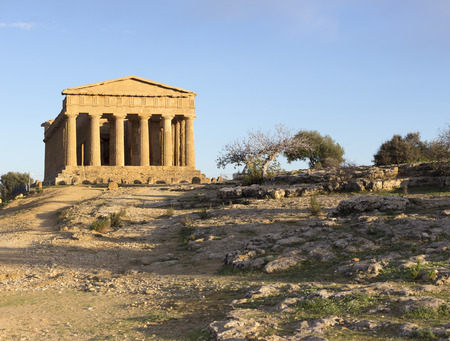 agrigento: Greek ruins of Temple in the Valley of Temples near Agrigento, Sicily Stock Photo