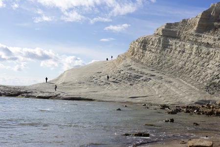 Agrigento, Italy - December 31, 2014: white cliff of Scala dei Turchi (Turkish Staircase) near Agrigento, Sicily Editorial