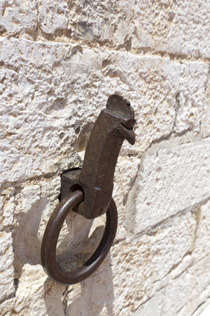 rustiness: Iron ring wall in Gubbio, Italy Stock Photo