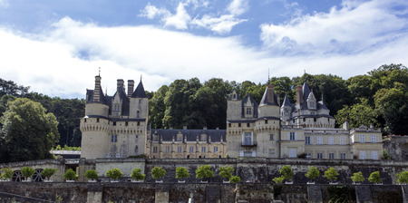 usse: Usse, France - August 11, 2016: Usse Castle in Loire Valley, Rigny-Usse, France. Known as the Sleeping Beauty Castle and built in the eleventh century is now a Historical Monument of France.