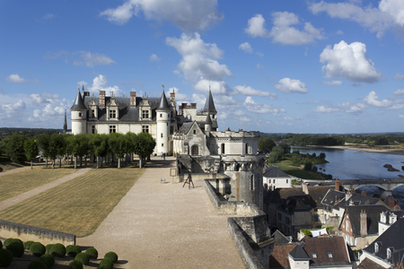 Amboise, France - August 09, 2016: The royal Chateau at Amboise is a chateau located in Amboise, in the Indre-et-Loire departement of the Loire Valley in France. Editorial