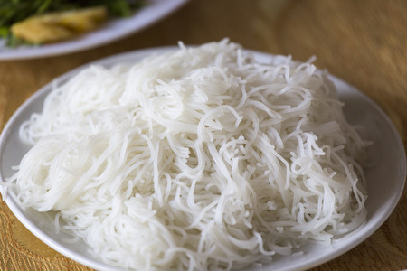 Rice noodle texture in plate Stock Photo