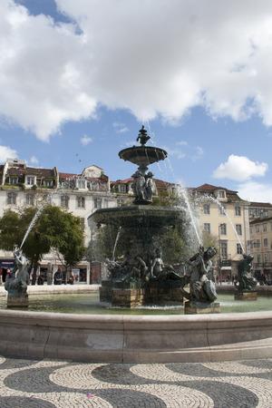 Lisbon, Portugal - February 15, 2014: Lisbon, Portugal cityscape at Rossio Square.