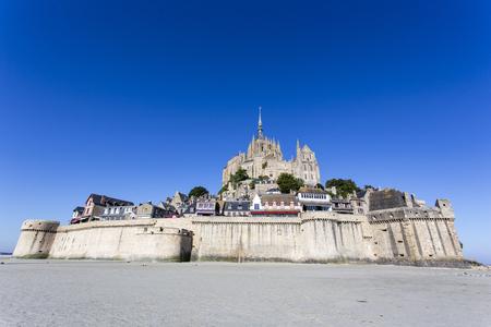 mont saint michel: Mont Saint Michel, France - August 16, 2016: The fortress Mont Saint Michel in France