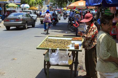 phen: Phnom phen, Cambodia - April 25, 2014: street food in Phnom Phen