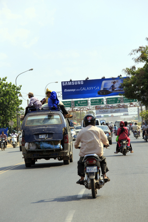 phnom phen, Cambodia - April 25, 2014: crazy transport in Phnom Phen