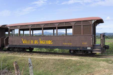 Trinidad, Cuba - January 2, 2016: train to the slave watch tower in the Valle de los Ingenios near Trinidad, Cuba