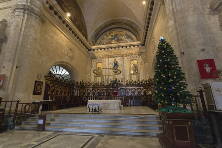 Havana, Cuba - December 30, 2015: Interior of the Cathedral of Havana, a religious landmark and touristic destination in Cuba
