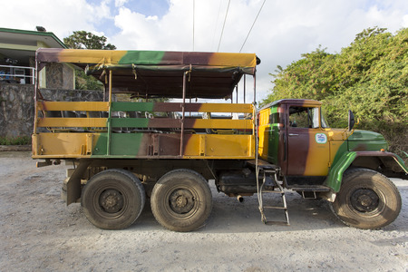 Trinidad, Cuba - January 03, 2016: Military camouflage ZIL truck in national park Topes de Colliantes