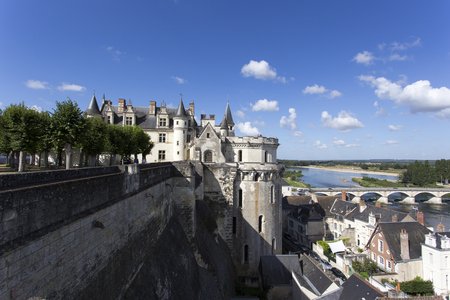 castel: Amboise, France - August 09, 2016: The royal Chateau at Amboise is a chateau located in Amboise, in the Indre-et-Loire departement of the Loire Valley in France