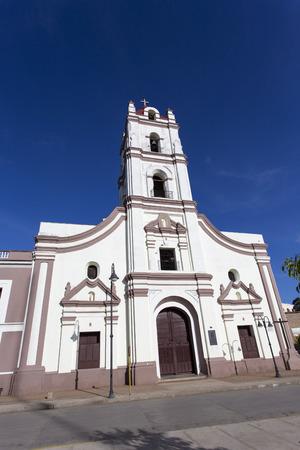 holguin: Camaguay, Cuba - December 27, 2015: Street view of church in Camaguay, Cuba