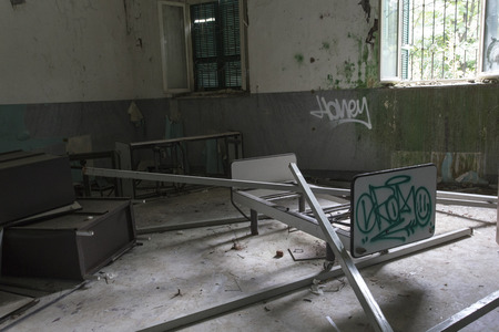 decaying: Limbiate, Italy - September 27, 2015: Abandoned Hospital Building called Mombello. The building was abandoned nearly twenty years ago, but never demolished