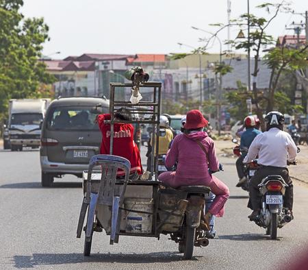 phen: phnom phen, Cambodia - April 25, 2014: crazy transport in Phnom Phen
