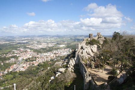 moors: Sintra, Portugal - February 16, 2014: the stone staircase of Sintra Castle of the Moors, Portugal