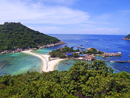 View point from top of mountain for see the beach, sea and nature of Nang Yuan and Tao island