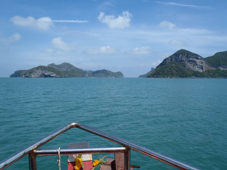 Summer, Travel, Vacation and Holiday concept; sea of islands from the boat. Thailand