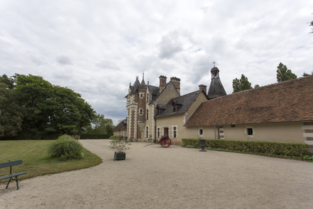 specular: Loire valley, France - August 10, 2016: The chateau of Troussay, France. This castle is located in the Loire Valley, and it is the smallest one.