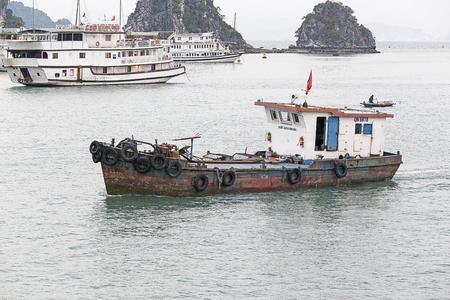 Halong Bay, Vietnam - December 27, 2016: view of the Halong Bay full of boat cruising Editorial