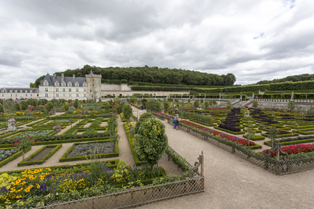 Villandry, France - 11 August 2015: Chateau de Villandry is a castle-palace located in Villandry, in department of Indre-et-Loire, France. He is a world known for its amazing gardens Editorial