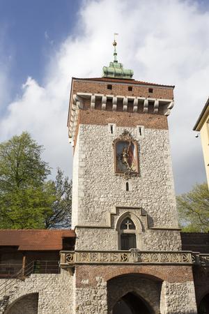 Krakow, Poland - April 22, 2017: Florianska Gate on the Florianska Street in Krakow, Poland