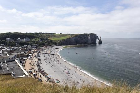 Etretat, France - August 13, 2016: nice etretat beach full of tourists in France