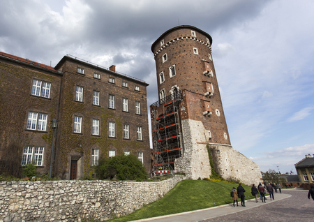 Krakow, Poland - April 22, 2017: The tower of old Royal Wawel Castle in Krakow, Poland Editorial