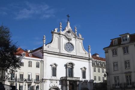 Lisbon, Portugal - February 02, 2014: Church in Lisbon seen from the street over blue sky