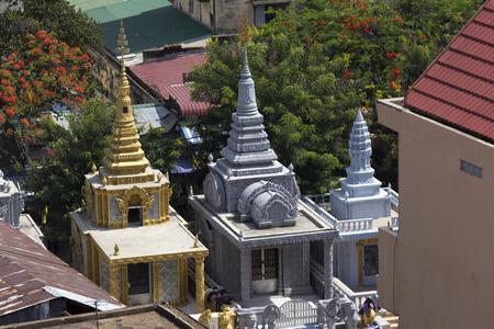 Phnom Phen, Cambodia - April 25, 2014: Small couloured temples in Phnom Phen, Cambodia
