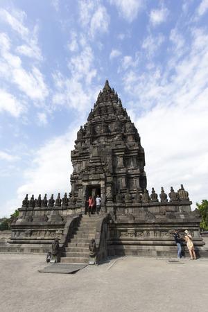 Yogyakarta, Indonesia - August 04, 2017: tourists visiting Prambanan Temple in Yogyakarta